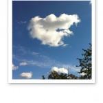 Ett vitt hjärtformat moln på en blå himmel.