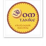 Logotyp för salong Omtanke, en gul och orange solliknande symbol.