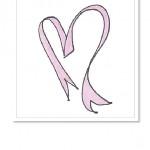Ett handritat hjärta, bestående av ett rosa band.