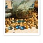 Stranddekor med sjöstenar, blå glasbitar och en glasvas med snäckor och vatten.