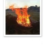 En brinnande kase ute på ett gärde, gulorange lågor mot en blekblå himmel.