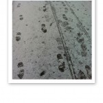 Mötande fotspår i snön.