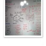 Anteckningar från föreläsning skrivna huller om buller på en whiteboardtavla.
