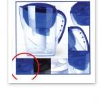 Bild på vattenkannan Aquarious, i blå och transparent plast.