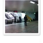 Bild på David Fincher och Rooney Mara i tunnelbanan, Gärdets station.