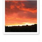 Kvällshimmel med rosa- och orangefärgade moln ovanför siluetter av hus.