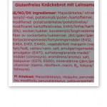 Innehållsförteckning över glutenfritt knäckebröd.