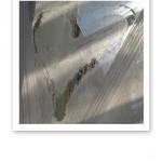 """Ett hjärta ristat i frost på ett fönster - """"fate""""."""
