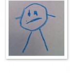 """En blå """"huvudfoting"""", ritad av ett barn."""