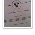 Bekräftelse på registrering av varumärke.