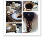 Collage på bilder av kaffekoppar och kaffesump.