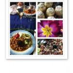 Collage av bilder på mat och ätbart, samt en blomma.