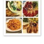 Collage av närbilder på mat, Kroatien 2013.