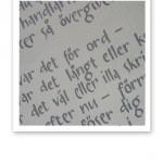 """Handtextade rader ur Nils Ferlins """"Barfotabarn""""."""