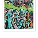 Färgglad graffiti på en vägg i Christiania, Köpenhamn.