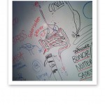 Kostkursanteckningar på whiteboardtavla, ht 2013.