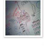 Kostkursanteckningar på en whiteboard ht 2013.