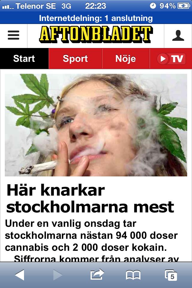 Bild från Aftonbladet på temat cannabis i dricksvattnet.