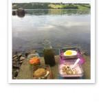 Färgglad frukost nere vid sjön