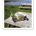 Picknickkorg vid badet.