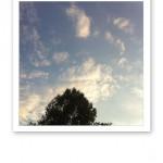 En hög och klar kvällssommarhimmel i juli.