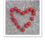 Skördade röda vinbär formade till ett hjärta.