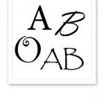 De fyra blodgrupperna; O, A, B och AB, skrivna med olika typsnitt intill varandra.