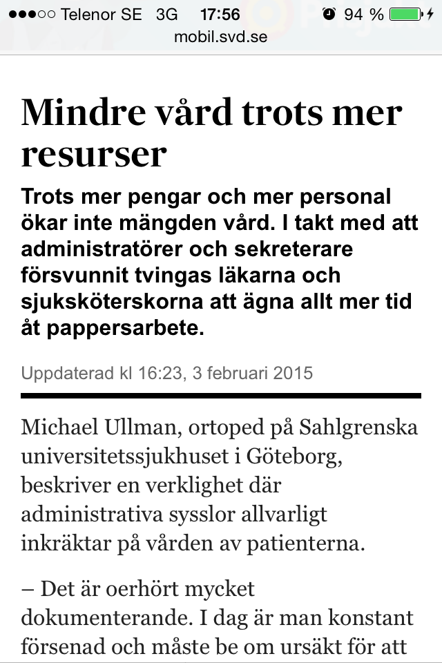 """Artikel om """"Mindre vård trots mer resurser."""""""